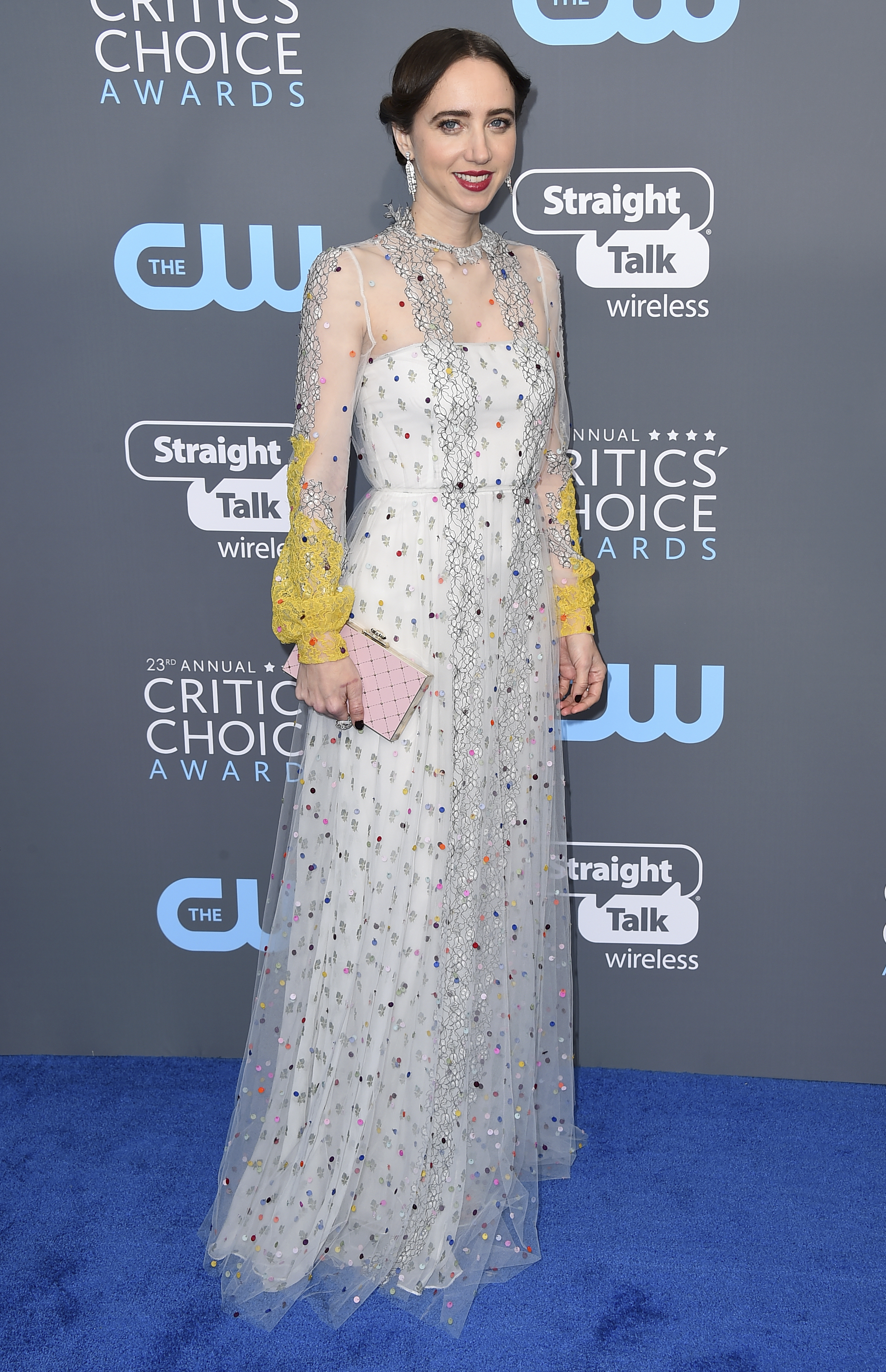 <div class='meta'><div class='origin-logo' data-origin='AP'></div><span class='caption-text' data-credit='Jordan Strauss/Invision/AP'>Zoe Kazan arrives at the 23rd annual Critics' Choice Awards at the Barker Hangar on Thursday, Jan. 11, 2018, in Santa Monica, Calif. (Photo by Jordan Strauss/Invision/AP)</span></div>