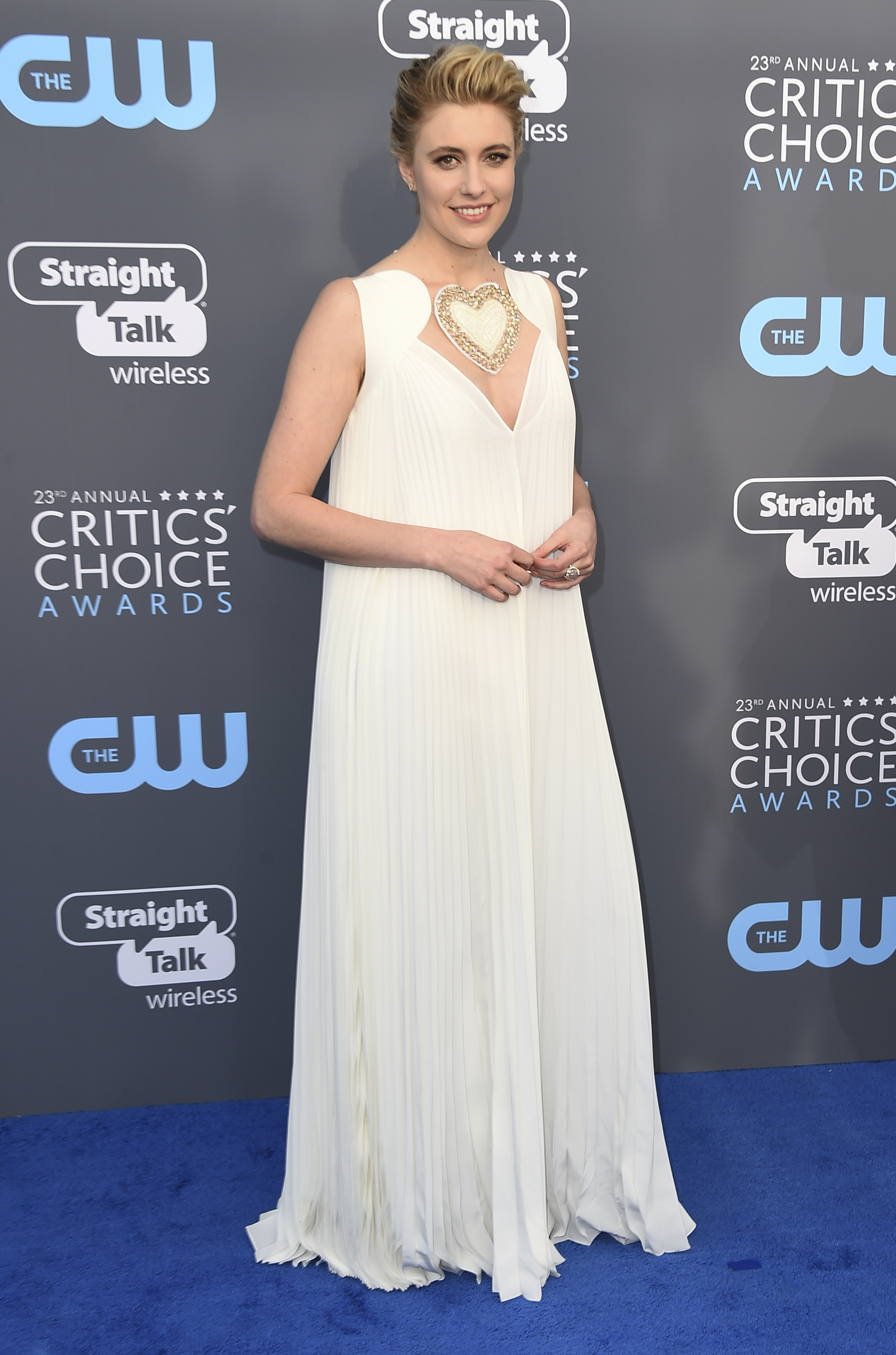 <div class='meta'><div class='origin-logo' data-origin='AP'></div><span class='caption-text' data-credit='Jordan Strauss/Invision/AP'>Greta Gerwig arrives at the 23rd annual Critics' Choice Awards at the Barker Hangar on Thursday, Jan. 11, 2018, in Santa Monica, Calif.</span></div>