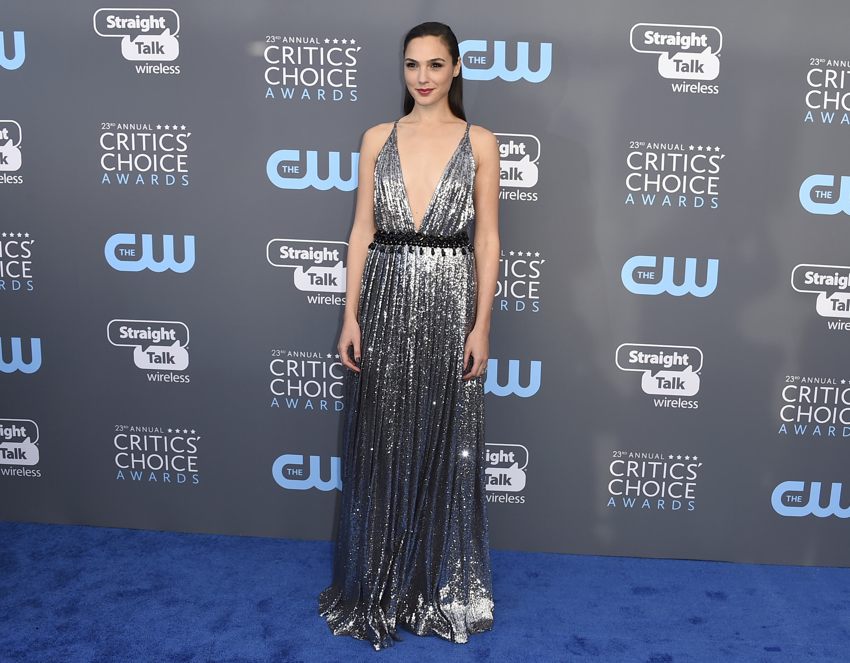 <div class='meta'><div class='origin-logo' data-origin='AP'></div><span class='caption-text' data-credit='Jordan Strauss/Invision/AP'>Gal Gadot arrives at the 23rd annual Critics' Choice Awards at the Barker Hangar on Thursday, Jan. 11, 2018, in Santa Monica, Calif.</span></div>