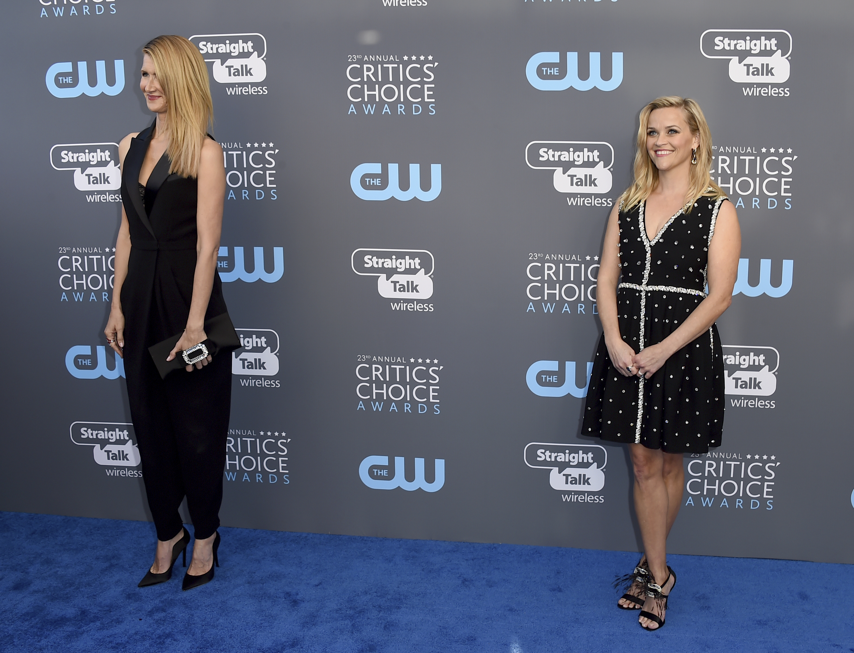 <div class='meta'><div class='origin-logo' data-origin='AP'></div><span class='caption-text' data-credit='Jordan Strauss/Invision/AP'>Lauren Dern, left, and Reese Witherspoon arrive at the 23rd annual Critics' Choice Awards at the Barker Hangar on Thursday, Jan. 11, 2018, in Santa Monica, Calif.</span></div>