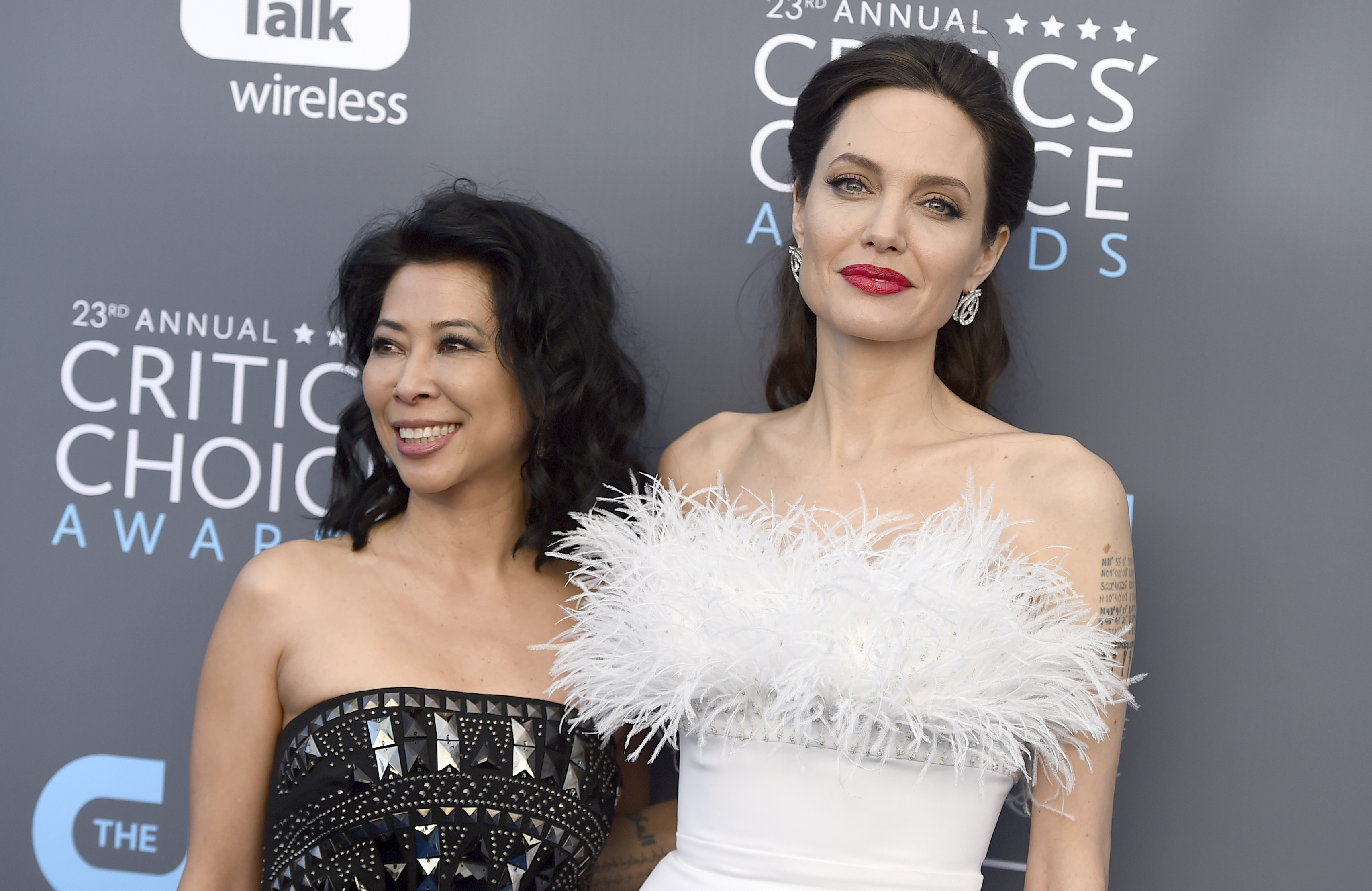 <div class='meta'><div class='origin-logo' data-origin='AP'></div><span class='caption-text' data-credit='Jordan Strauss/Invision/AP'>Loung Ung, left, and Angelina Jolie arrive at the 23rd annual Critics' Choice Awards at the Barker Hangar on Thursday, Jan. 11, 2018, in Santa Monica, Calif.</span></div>