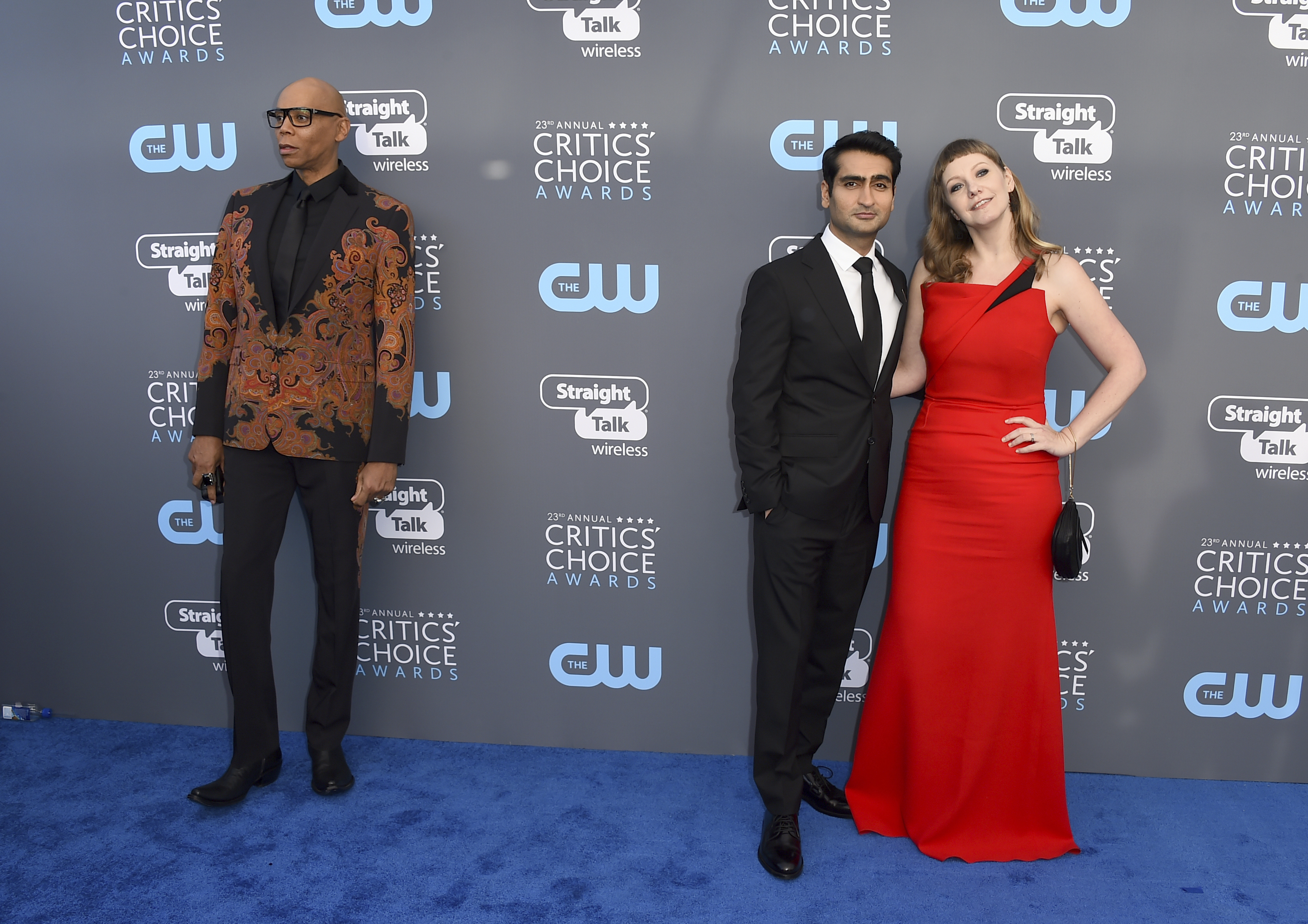 <div class='meta'><div class='origin-logo' data-origin='AP'></div><span class='caption-text' data-credit='Jordan Strauss/Invision/AP'>RuPaul, from left, Kumail Nanjiani, and Emily V. Gordon arrive at the 23rd annual Critics' Choice Awards at the Barker Hangar on Thursday, Jan. 11, 2018, in Santa Monica, Calif.</span></div>