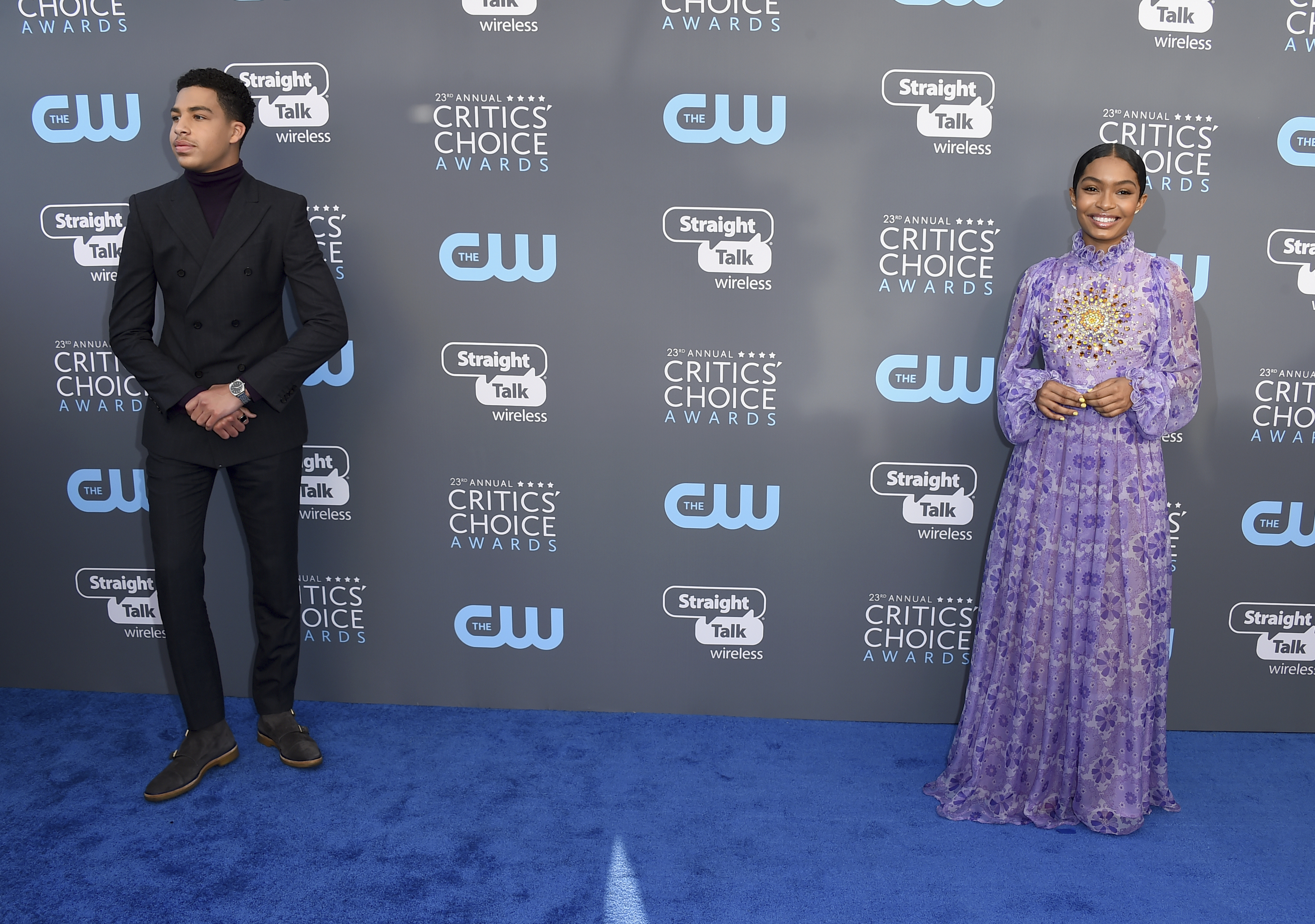 <div class='meta'><div class='origin-logo' data-origin='AP'></div><span class='caption-text' data-credit='Jordan Strauss/Invision/AP'>Marcus Scribner, left, and Yara Shahidi arrive at the 23rd annual Critics' Choice Awards at the Barker Hangar on Thursday, Jan. 11, 2018, in Santa Monica, Calif.</span></div>