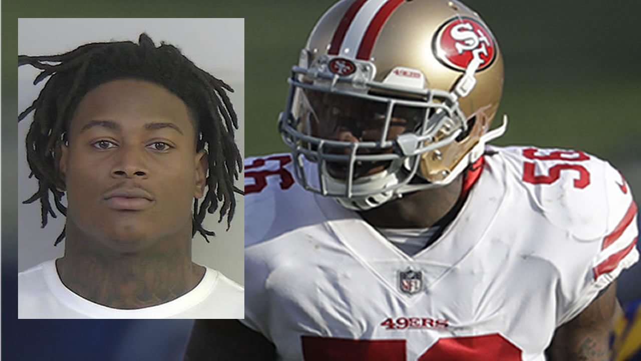 Reuben Foster appears in his mugshot (L) and on the field with the San Francisco 49ers (R.)