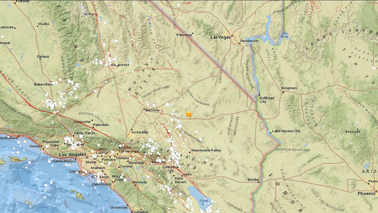 A preliminary-magnitude 3.8 earthquake shook central San Bernardino County late Sunday morning, the U.S. Geological Survey said.