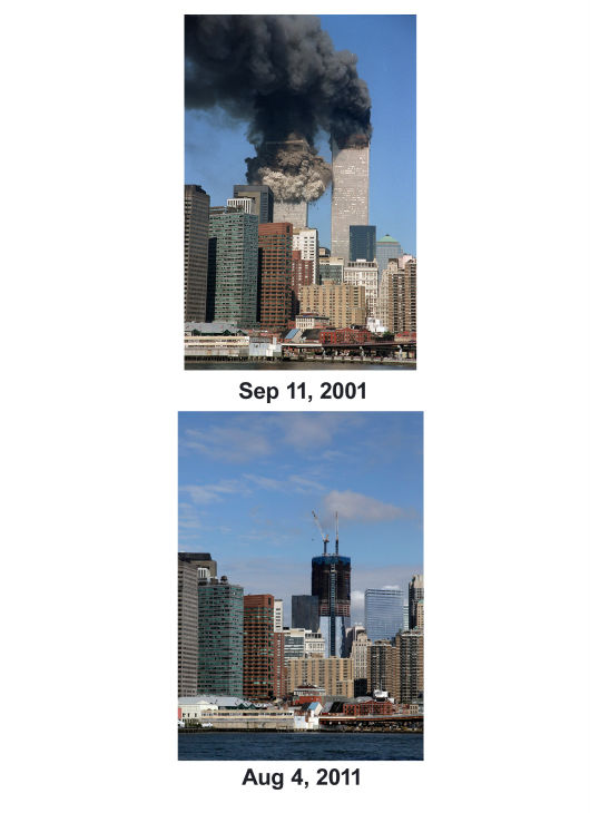 "<div class=""meta image-caption""><div class=""origin-logo origin-image none""><span>none</span></div><span class=""caption-text"">(Top) The south tower starts to collapse as smoke billows from both buildings of the World Trade Center in New York. (Below) One World Trade Center rises in 2011. (AP Photo/ Jim Collins)</span></div>"