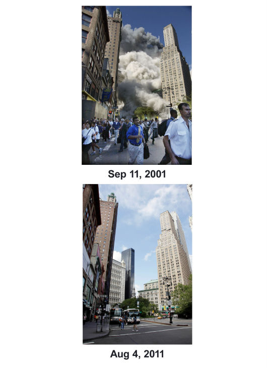 "<div class=""meta image-caption""><div class=""origin-logo origin-image none""><span>none</span></div><span class=""caption-text"">(Top) Pedestrians flee the area of the World Trade Center as the center's south tower collapses. (Below) Activity on Park Row is shown in lower Manhattan, Aug. 4, 2011 in New York. (AP Photo/ Mark Lennihan)</span></div>"
