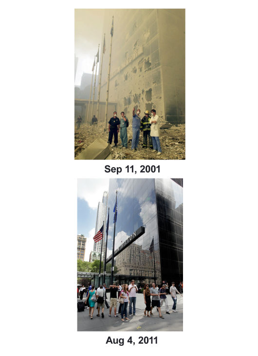 "<div class=""meta image-caption""><div class=""origin-logo origin-image none""><span>none</span></div><span class=""caption-text"">(Top) Medical and emergency workers look towards where the World Trade Center towers used to be. (Below) Pedestrians pass the Hilton Hotel on Church St. on Aug. 4, 2011 (AP Photo/ Mark Lennihan)</span></div>"
