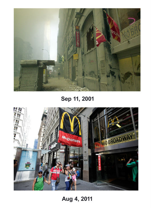"<div class=""meta image-caption""><div class=""origin-logo origin-image none""><span>none</span></div><span class=""caption-text"">(Top) A street near ground zero on the evening of September 11, 2001 after the September 11 attacks. (Below) Pedestrians pass a McDonald's on Broadway on Aug. 4, 2011. (AP Photo/ Mark Lennihan)</span></div>"