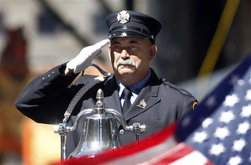 "<div class=""meta image-caption""><div class=""origin-logo origin-image none""><span>none</span></div><span class=""caption-text"">A firefighter salutes as taps is played, before a moment of silence on the ninth anniversary of the terrorist attacks in 2010. (AP Photo/ Jason DeCrow)</span></div>"