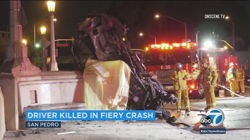 Man killed in San Pedro fiery crash