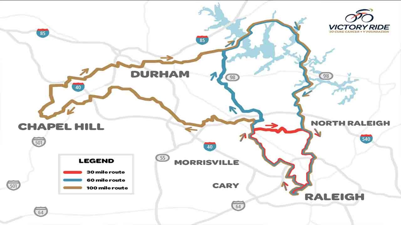 2018 routes for the V Foundation's Victory Ride to Cure Cancer
