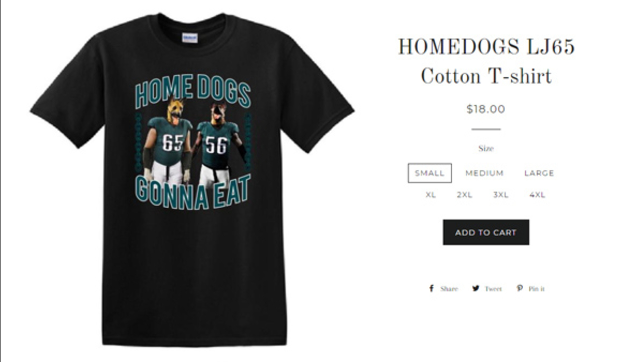 b0ce2339a80 Dress for success, underdogs: Eagles' Lane Johnson creates 'Homedogs' t- shirt benefiting schools | 6abc.com