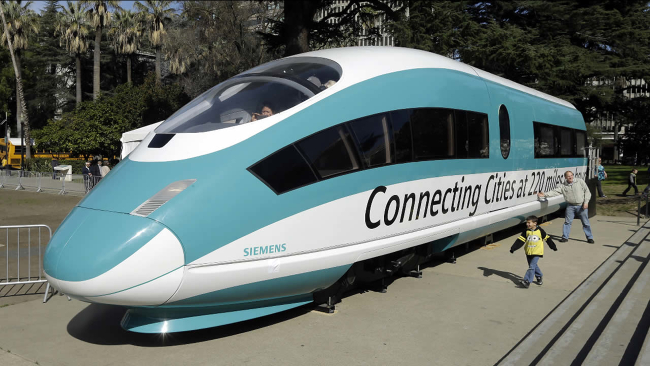 FILE - In this Feb. 26, 2015 file photo, a full-scale mock-up of a high-speed train is displayed at the Capitol in Sacramento, Calif.