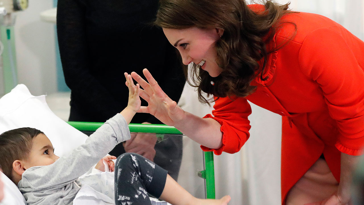 "<div class=""meta image-caption""><div class=""origin-logo origin-image none""><span>none</span></div><span class=""caption-text"">Britain's Kate, the Duchess of Cambridge gestures to patient Rafael Chana, 4, as she visits Great Ormond Street Hospital on Jan. 17, 2018. (Frank Augstein/AP Photo, Pool)</span></div>"