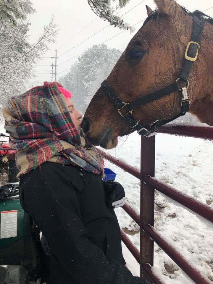 "<div class=""meta image-caption""><div class=""origin-logo origin-image wtvd""><span>WTVD</span></div><span class=""caption-text"">Elizabeth Brogden visiting Pepper in the snow in Creedmoor. (ABC11 Eyewitness)</span></div>"