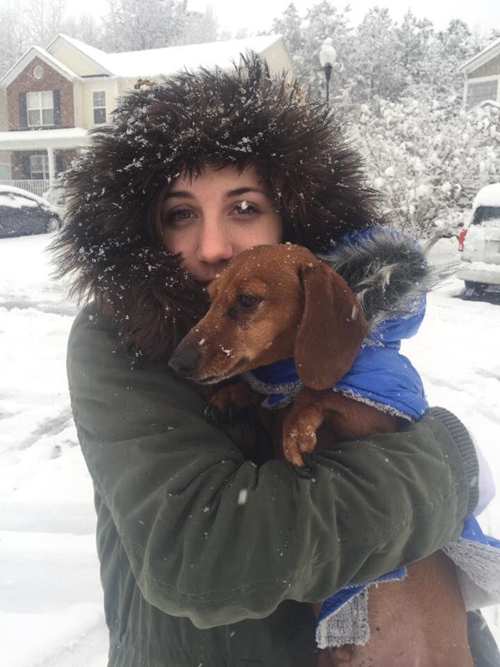 "<div class=""meta image-caption""><div class=""origin-logo origin-image wtvd""><span>WTVD</span></div><span class=""caption-text"">This pup checks out the snow! (ABC11 Eyewitness)</span></div>"