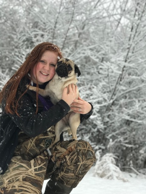 "<div class=""meta image-caption""><div class=""origin-logo origin-image wtvd""><span>WTVD</span></div><span class=""caption-text"">Emily Bowden and her pup enjoy the snow! (ABC11 Eyewitness)</span></div>"