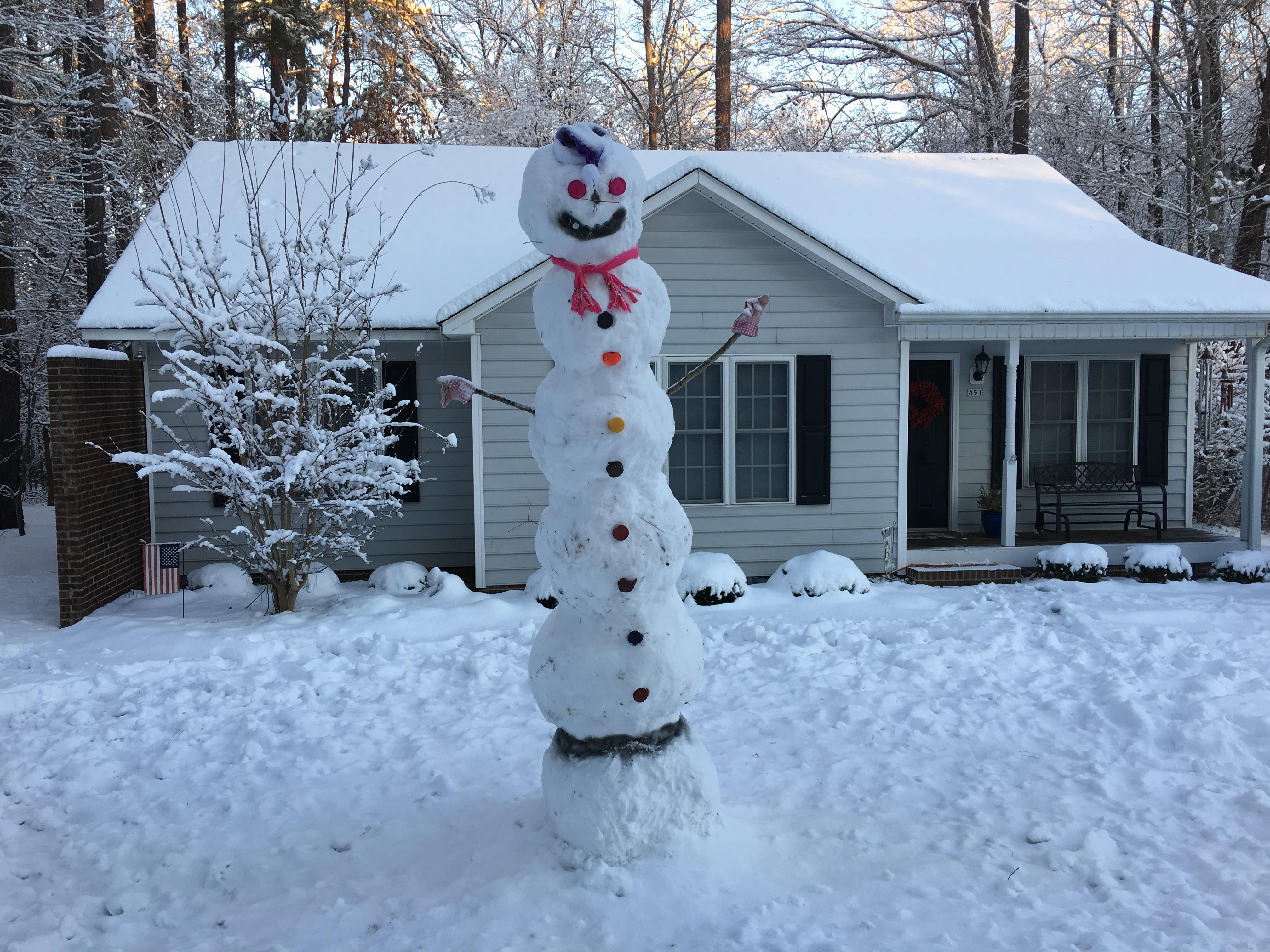 "<div class=""meta image-caption""><div class=""origin-logo origin-image wtvd""><span>WTVD</span></div><span class=""caption-text"">David and Sylvia Huffer of Sanford made this monster 12-foot snowman! (Rob Howland - ABC11 Eyewitness)</span></div>"