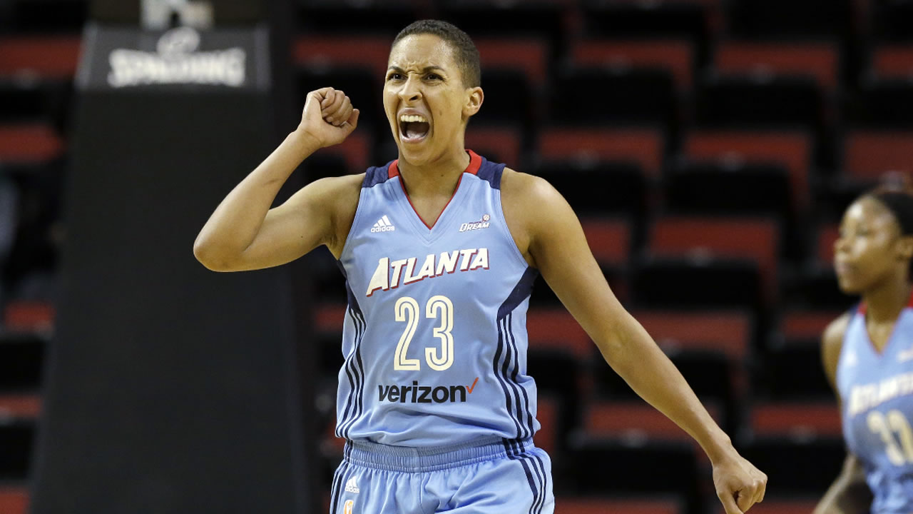 Atlanta Dream's Layshia Clarendon reacts during a WNBA basketball game against the Seattle Storm Tuesday, June 13, 2017, in Seattle.