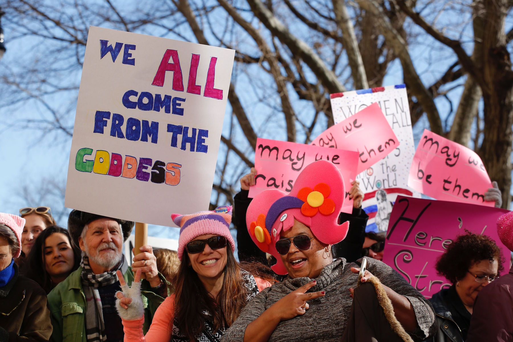 <div class='meta'><div class='origin-logo' data-origin='none'></div><span class='caption-text' data-credit='Kena Betancur/AFP/Getty Images'>People gather prior to the second annual National Women's March on January 20, 2018 in New York City.</span></div>
