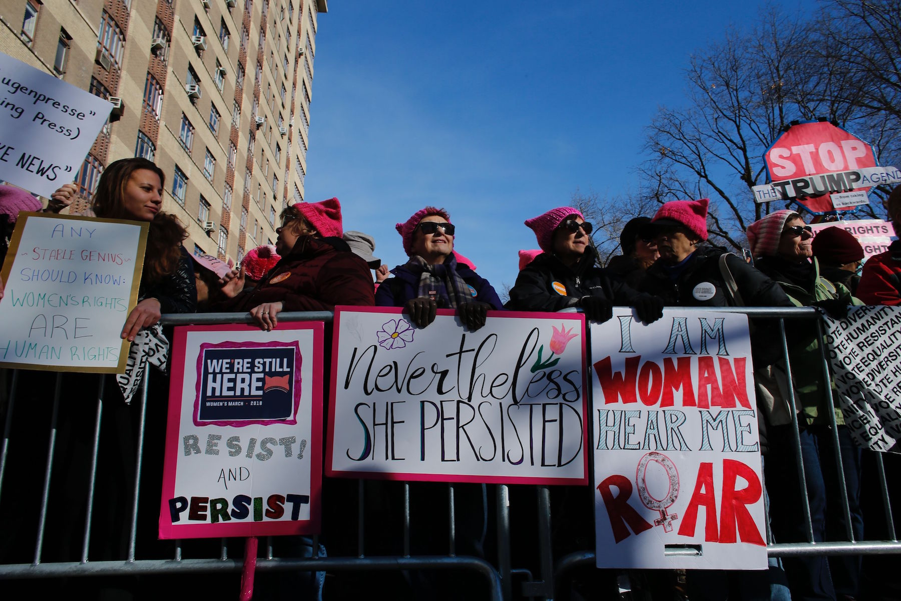 <div class='meta'><div class='origin-logo' data-origin='none'></div><span class='caption-text' data-credit='Kena Betancur/AFP/Getty Images'>People gather before the second annual National Women's March on January 20, 2018 in New York City.</span></div>