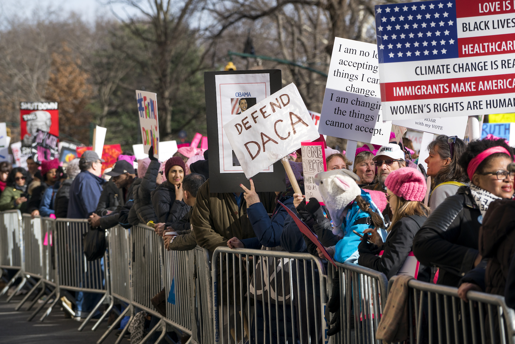 <div class='meta'><div class='origin-logo' data-origin='AP'></div><span class='caption-text' data-credit='AP Photo/Craig Ruttle'>People line up on Central Park West as they wait for the start of a march highlighting equal rights and equality for women Saturday, Jan. 20, 2018, in New York.</span></div>
