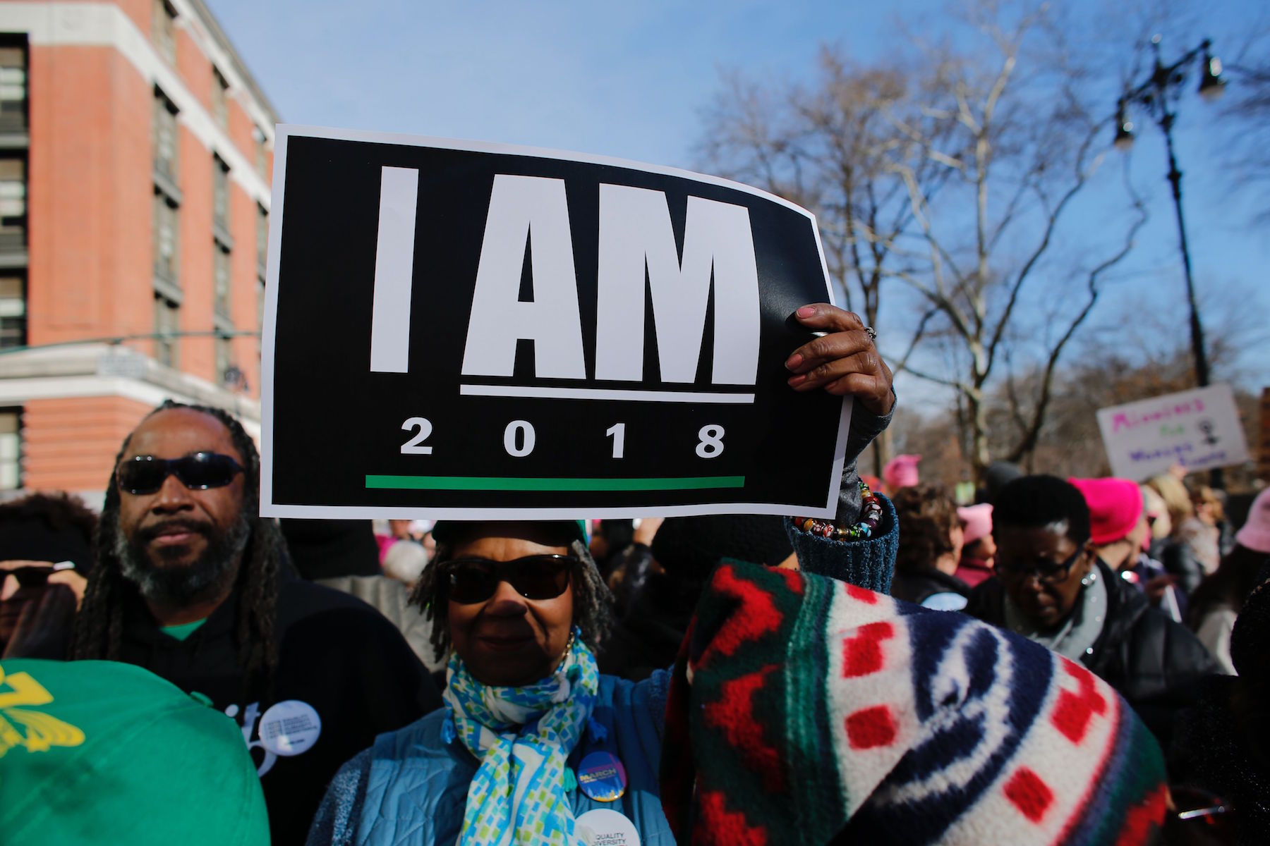 <div class='meta'><div class='origin-logo' data-origin='none'></div><span class='caption-text' data-credit='Kena Betancur/AFP/Getty Images'>A woman holds a sign as she attends the Women's March on New York City on January 20, 2018 in New York City.</span></div>