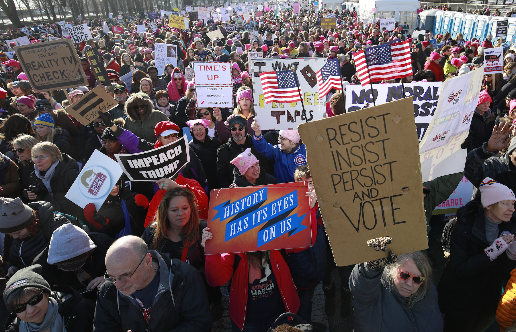 <div class='meta'><div class='origin-logo' data-origin='none'></div><span class='caption-text' data-credit='Jim Young/AFP/Getty Images'>Demostrators attend the Second Annual Women's March Chicago on January 20, 2018 in Chicago, Illinois.</span></div>