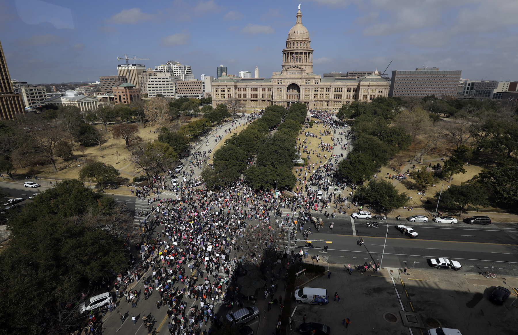 <div class='meta'><div class='origin-logo' data-origin='AP'></div><span class='caption-text' data-credit='AP Photo/Eric Gay'>A women's march heads to the Texas State Capitol on the one-year anniversary of President Donald Trump's inauguration, Saturday, Jan. 20, 2018, in Austin, Texas.</span></div>