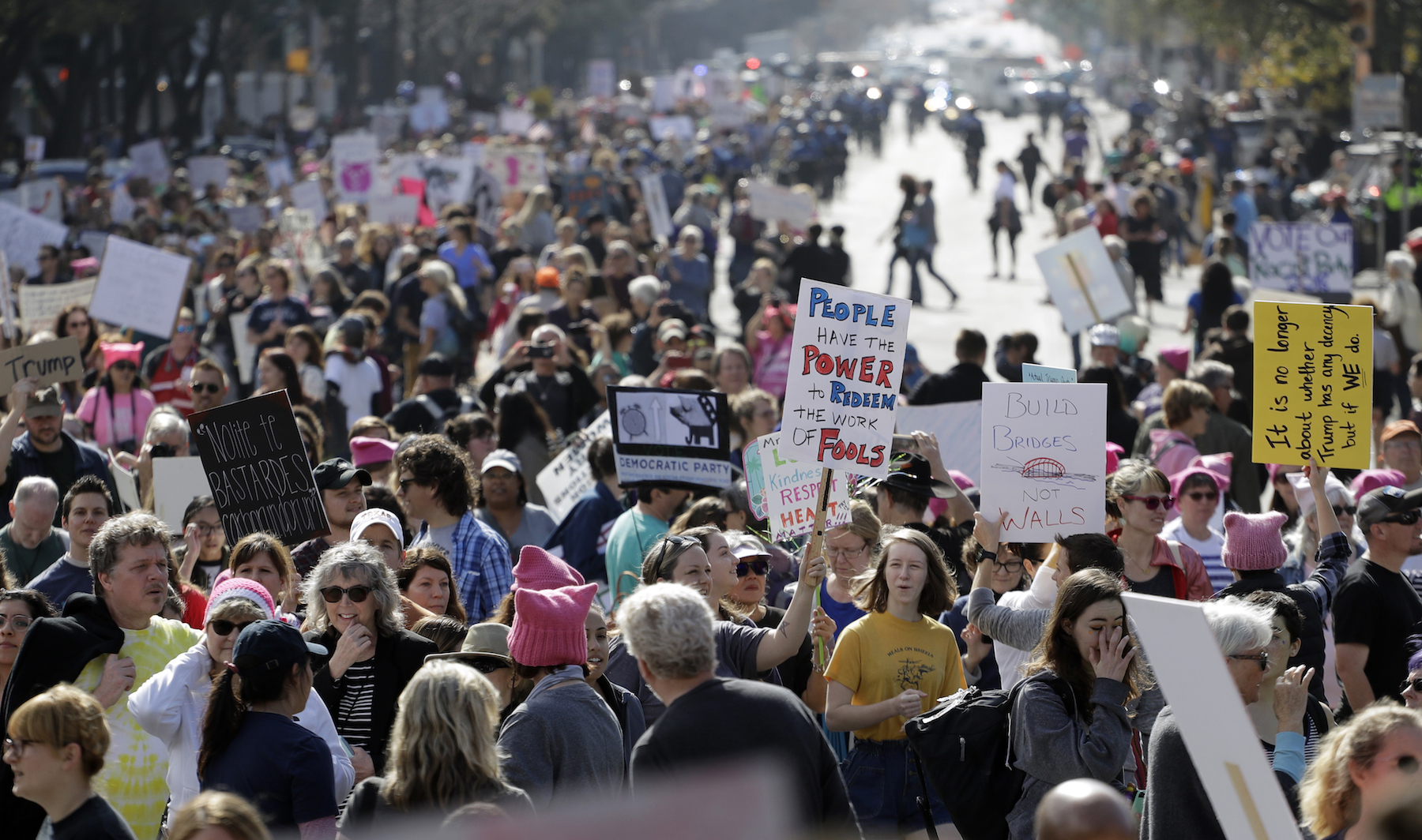 <div class='meta'><div class='origin-logo' data-origin='AP'></div><span class='caption-text' data-credit='AP Photo/Eric Gay'>A women's march stretches along Congress Avenue as it heads to the Texas State Capitol.</span></div>