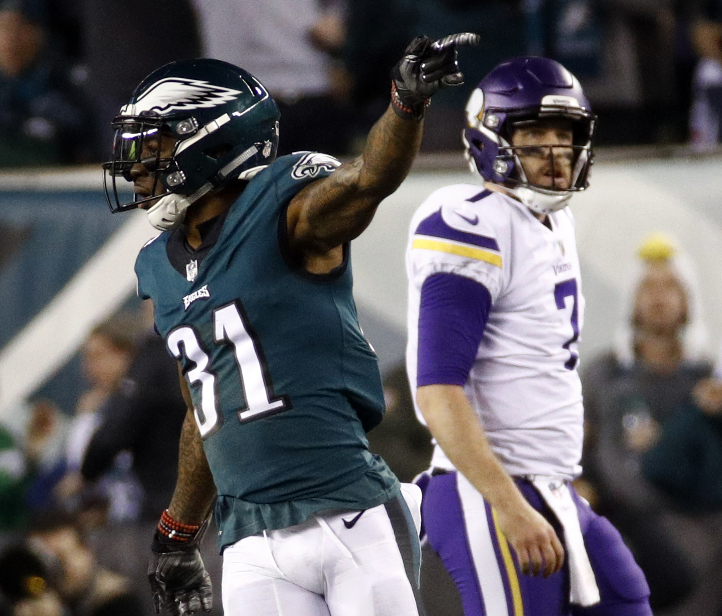 <div class='meta'><div class='origin-logo' data-origin='AP'></div><span class='caption-text' data-credit='AP Photo/Patrick Semansky'>Philadelphia Eagles' Jalen Mills celebrates a fumble recovery in front of Minnesota Vikings' Case Keenum during the first half.</span></div>
