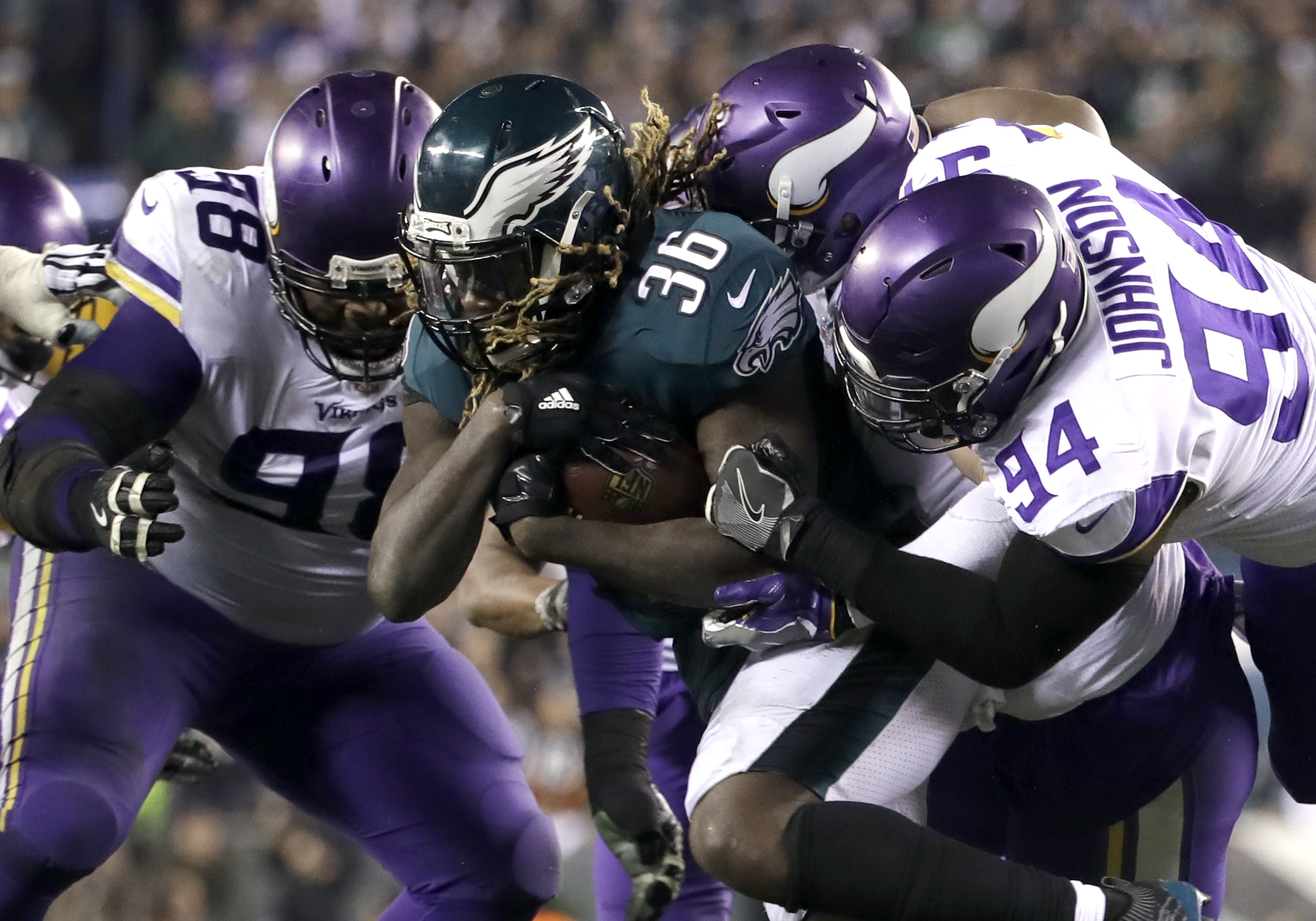 <div class='meta'><div class='origin-logo' data-origin='AP'></div><span class='caption-text' data-credit='AP Photo/Matt Rourke'>Philadelphia Eagles' Jay Ajayi runs during the second half of the NFL football NFC championship game against the Minnesota Vikings Sunday, Jan. 21, 2018, in Philadelphia.</span></div>