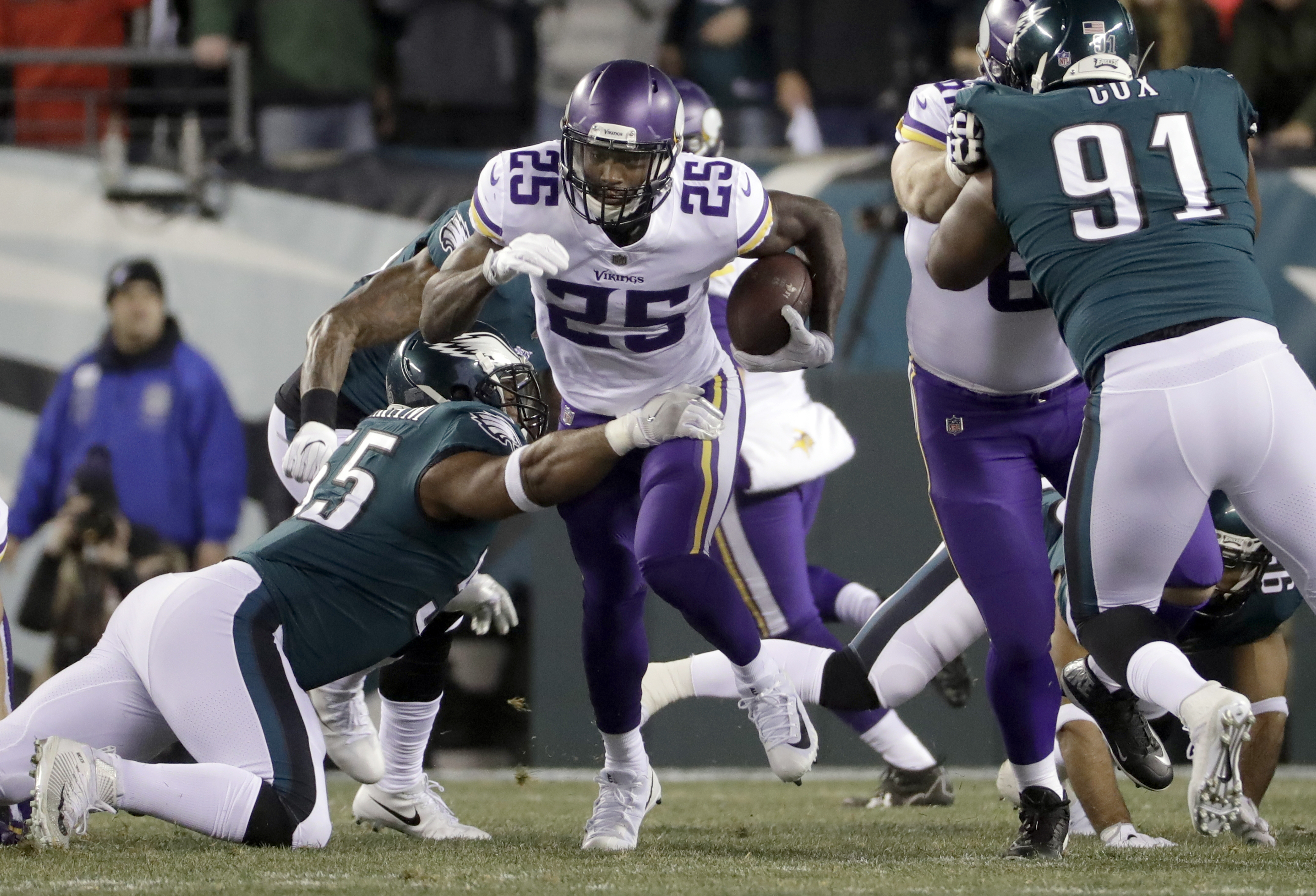 "<div class=""meta image-caption""><div class=""origin-logo origin-image ap""><span>AP</span></div><span class=""caption-text"">Minnesota Vikings' Latavius Murray runs during the first half of the NFL football NFC championship game against the Philadelphia Eagles Sunday, Jan. 21, 2018, in Philadelphia. (APAP Photo/Matt Slocum)</span></div>"