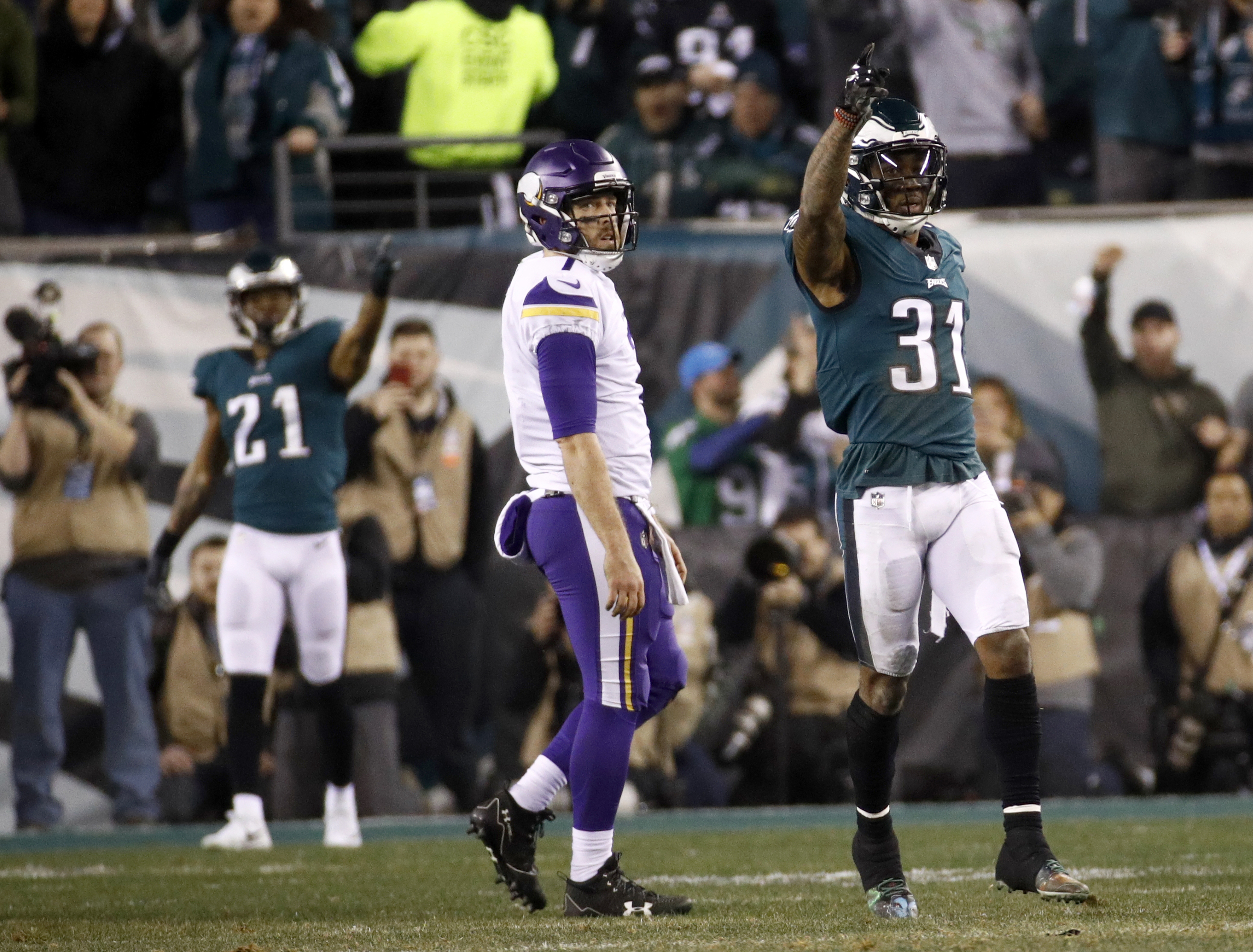 <div class='meta'><div class='origin-logo' data-origin='AP'></div><span class='caption-text' data-credit='AP Photo/Patrick Semansky'>Philadelphia Eagles' Jalen Mills celebrates a fumble recovery in front of Minnesota Vikings' Case Keenum during the first half of the NFL football NFC championship game.</span></div>