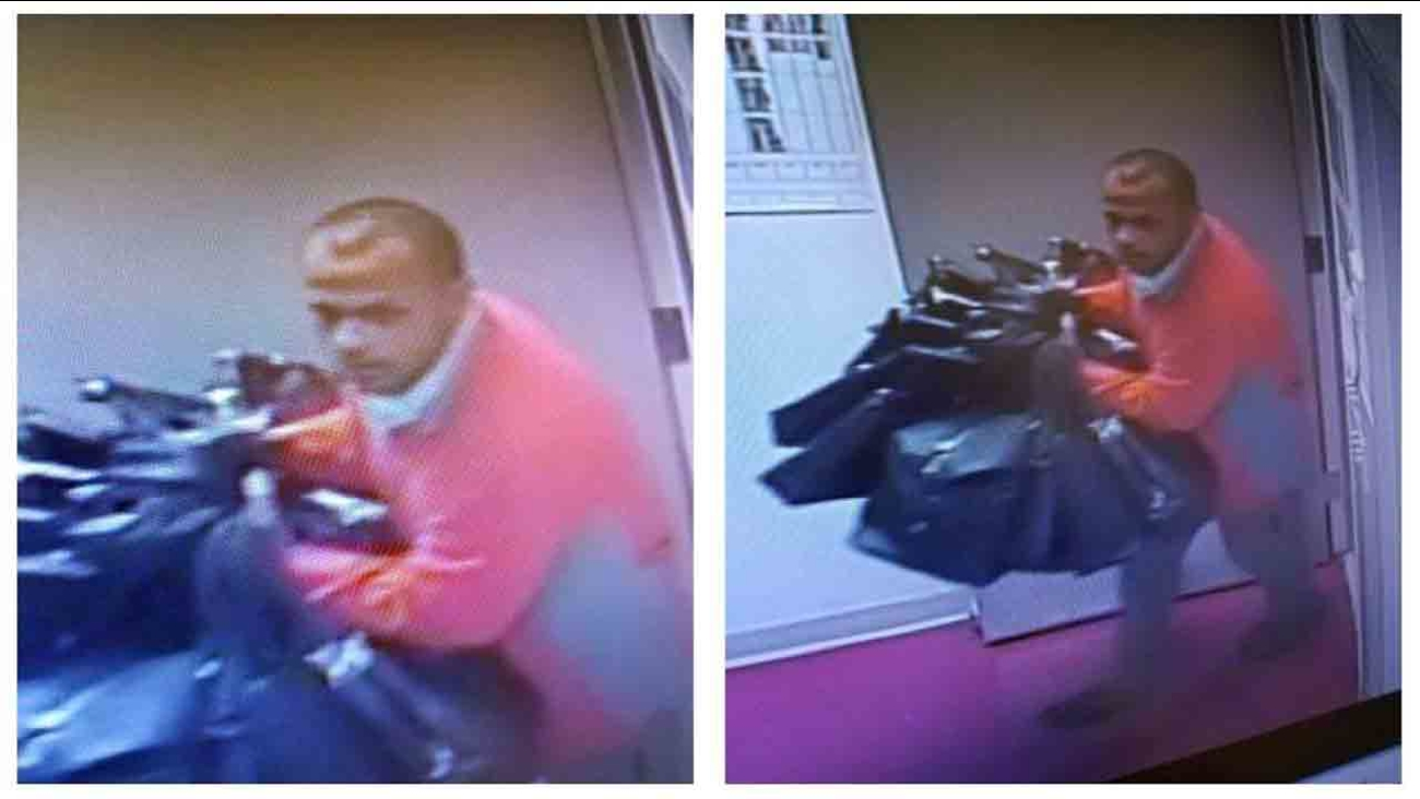 Police are searching for this man accused of stealing $5,000 worth of bags from a Coach Factory store