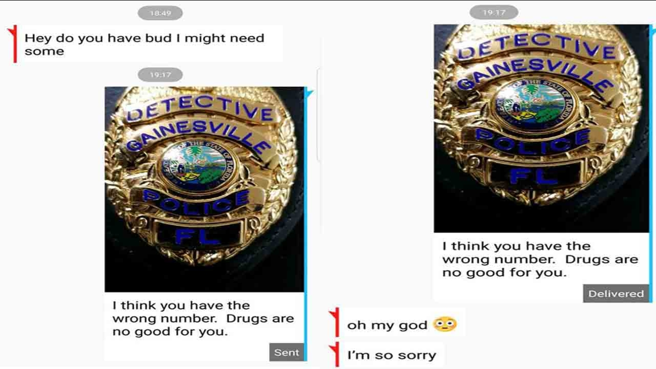 A person accidentally texted a Florida cop asking for marijuana and immediately regretted it