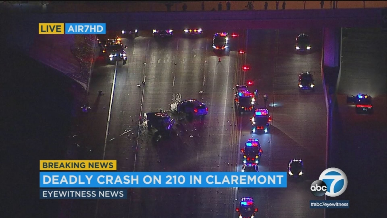 A crash triggered by a pursuit suspect going the wrong direction on the 210 Fwy. in Claremont left one person dead and multiple others injured Monday.