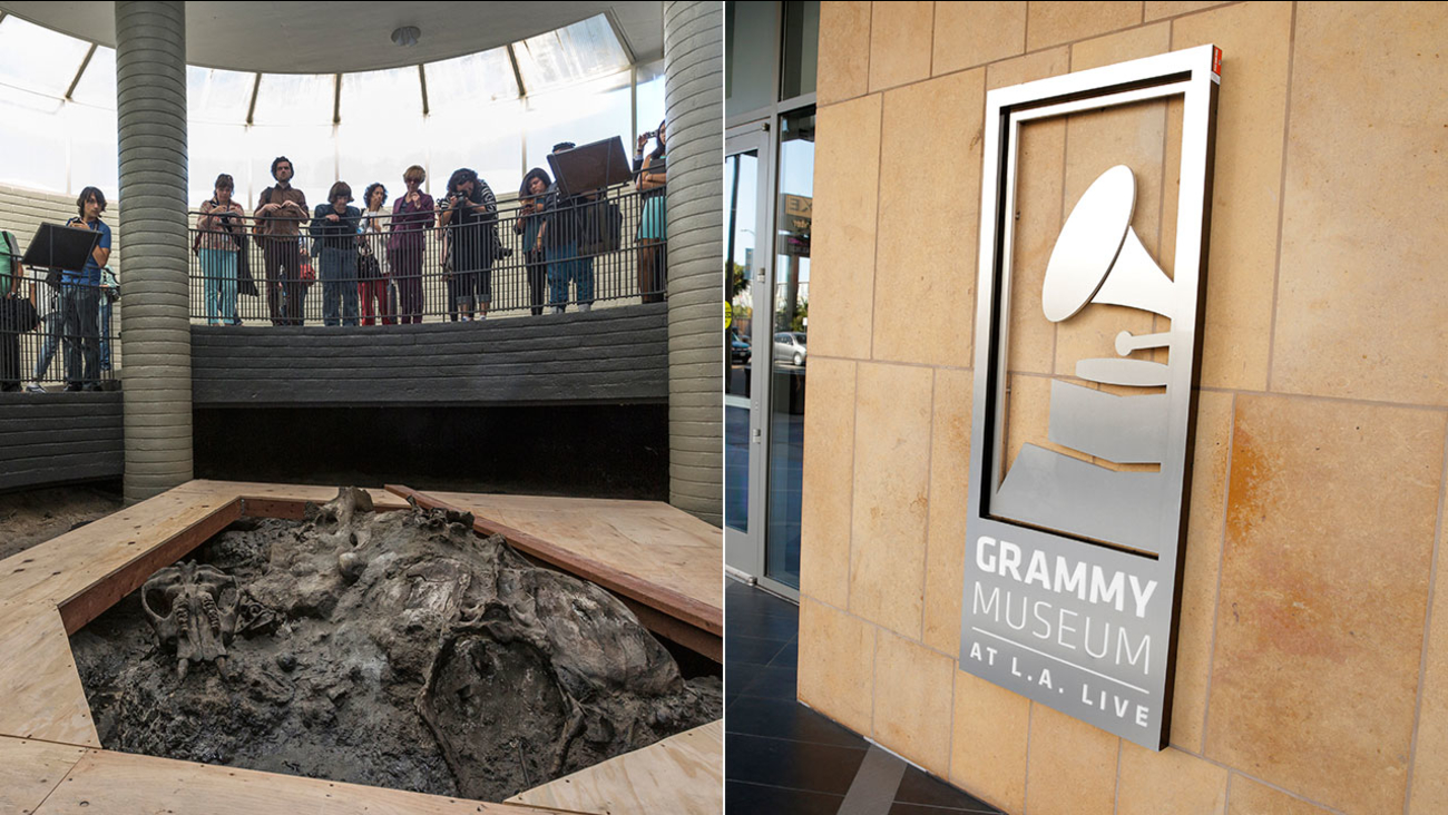 Dozens of Los Angeles museums, like the La Brea Tar Pits (left) and the Grammy Museum will offer free admission on Sunday, Jan. 28, 2018.