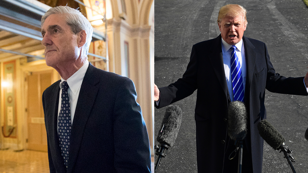 Special counsel Robert Mueller, left, is seen at the Capitol in Washington. President Trump, right, talks with reporters on South Lawn of the White House.