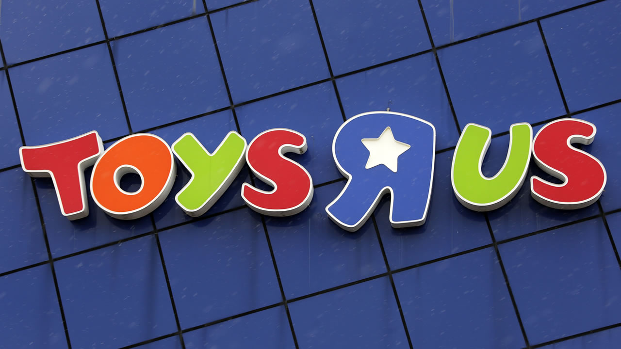 This is the Toys R Us logo on a store in Pittsburgh, Wednesday, Jan. 24, 2018.