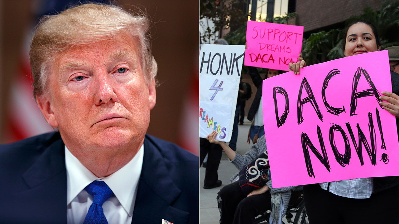 Left: President Trump speaks at an economic forum in Davos on Jan. 28, 2018. Right: Demonstrators rally for DACA outside the LA office of Sen. Dianne Feinstein on Jan. 3, 2018.
