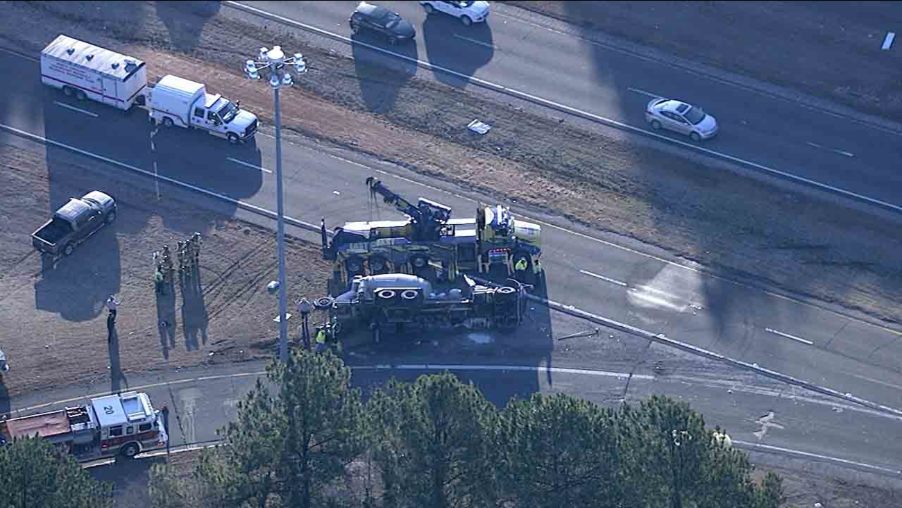 Cement mixer overturns, closes on-ramp to 40 W at US 1
