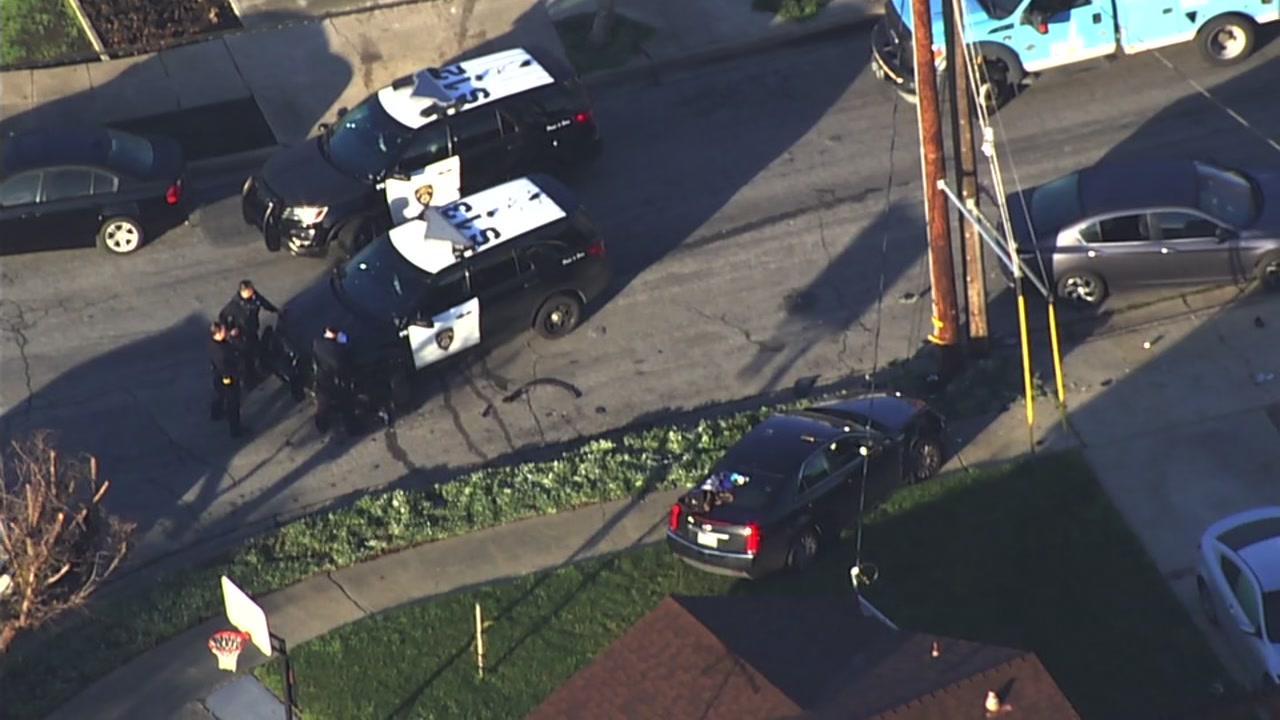 Accident involving police cruiser and another vehicle in San Leandro, California on Friday, January 26, 2018.