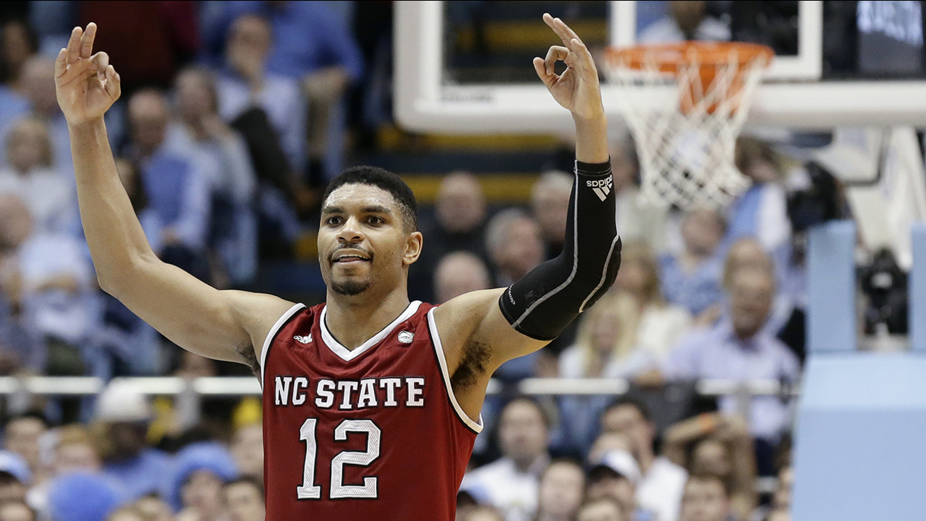 NC State's Al Freeman celebrates as the game ends. Freeman hit all seven of his three-point attempts and had a career-high 29 points.