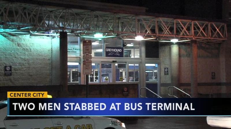 2 men stabbed at bus terminal