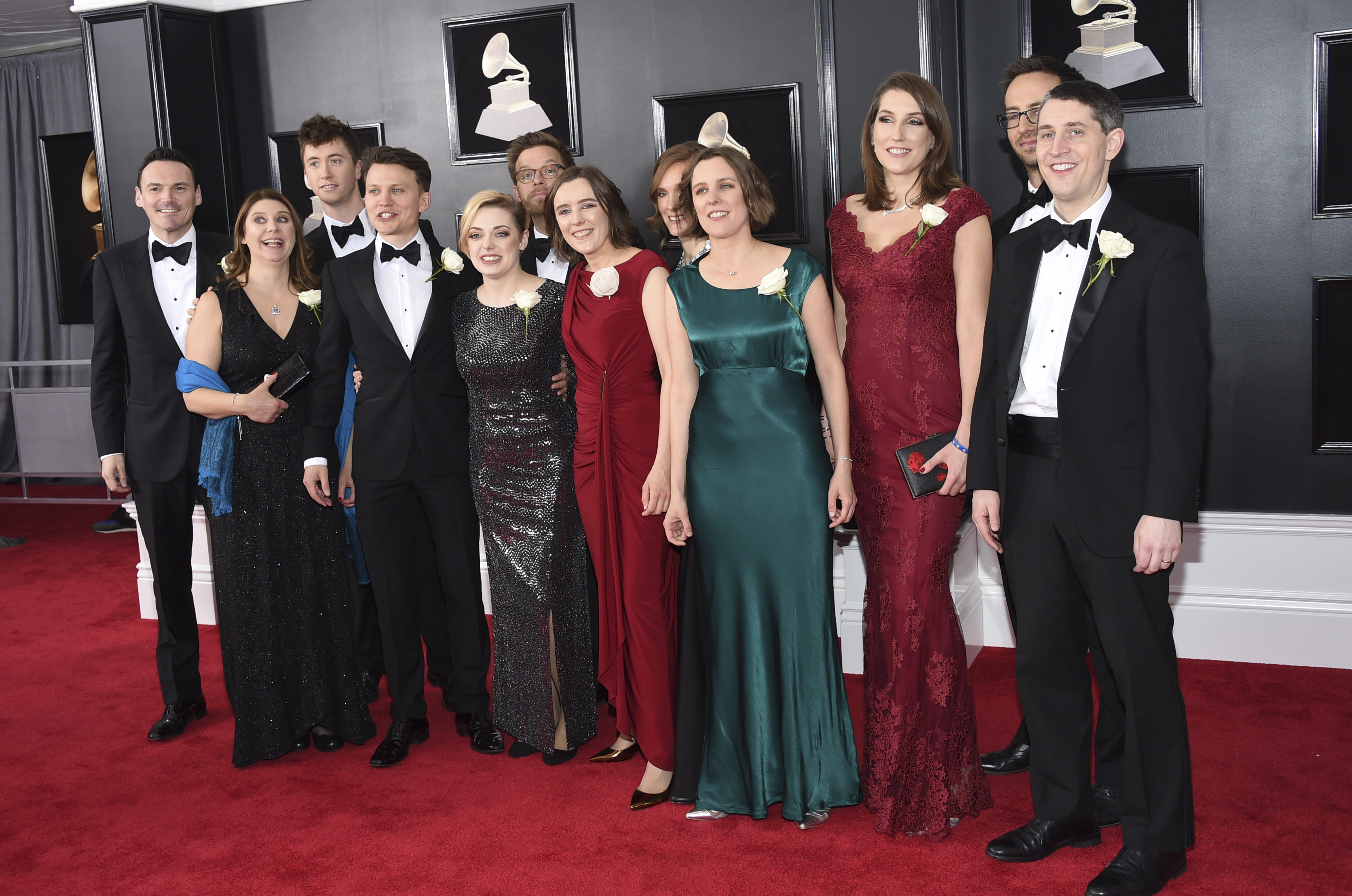 <div class='meta'><div class='origin-logo' data-origin='AP'></div><span class='caption-text' data-credit='Evan Agostini/Invision/AP'>Stile Antico arrives at the 60th annual Grammy Awards at Madison Square Garden on Sunday, Jan. 28, 2018, in New York.</span></div>