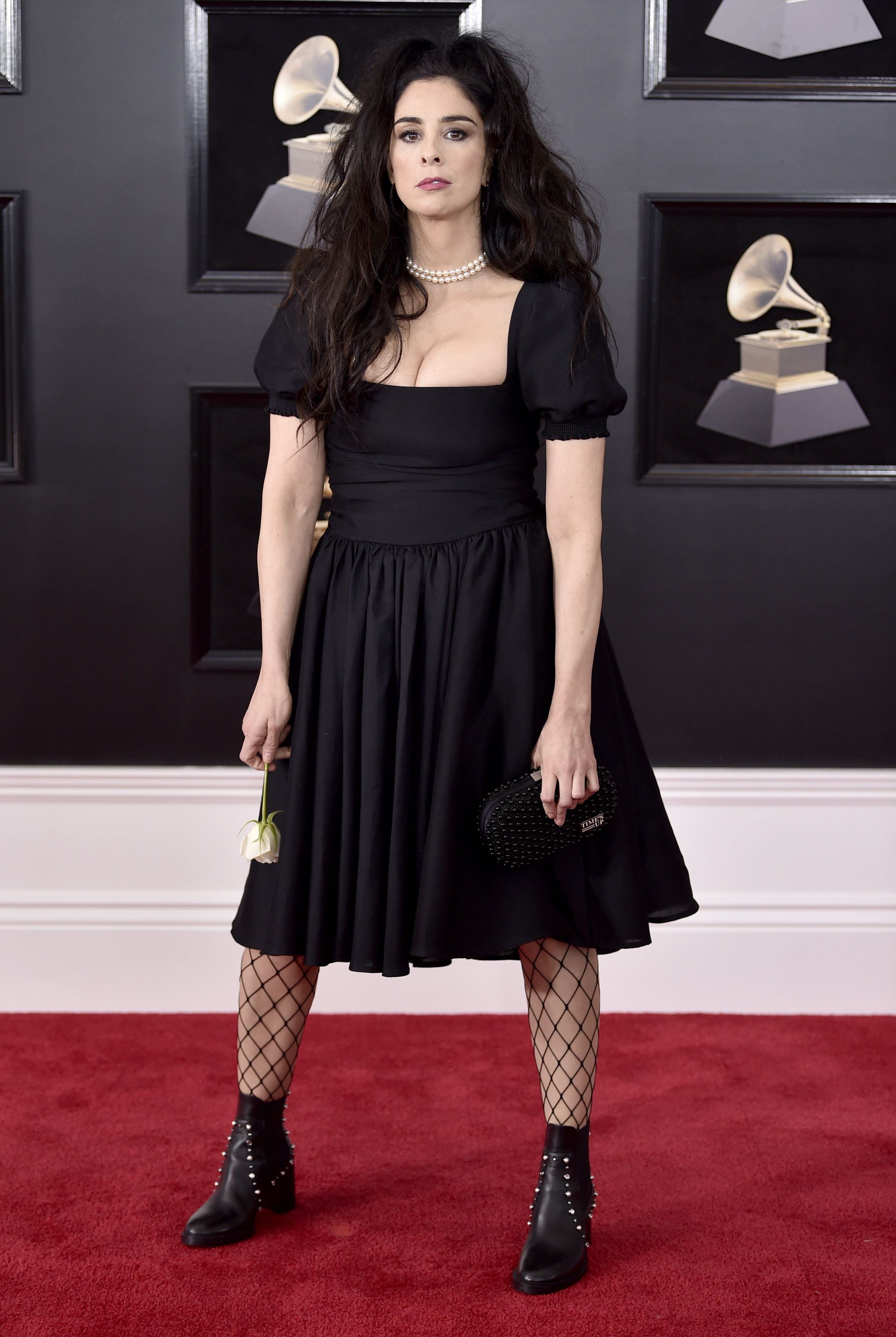 <div class='meta'><div class='origin-logo' data-origin='AP'></div><span class='caption-text' data-credit='Evan Agostini/Invision/AP'>Sarah Silverman arrives at the 60th annual Grammy Awards at Madison Square Garden on Sunday, Jan. 28, 2018, in New York.</span></div>