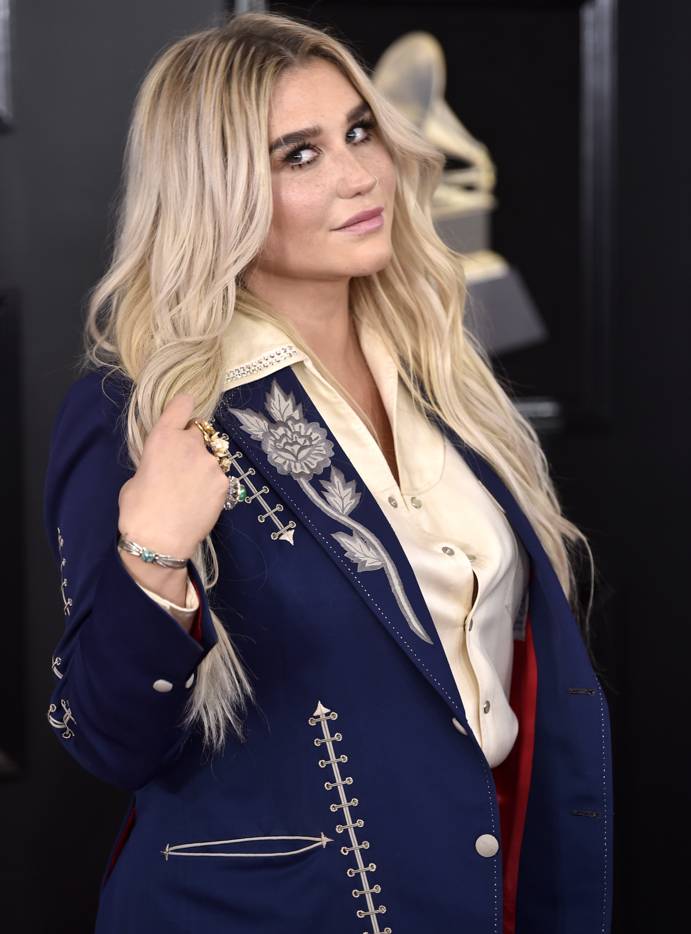 <div class='meta'><div class='origin-logo' data-origin='AP'></div><span class='caption-text' data-credit='Evan Agostini/Invision/AP'>Kesha arrives at the 60th annual Grammy Awards at Madison Square Garden on Sunday, Jan. 28, 2018, in New York.</span></div>