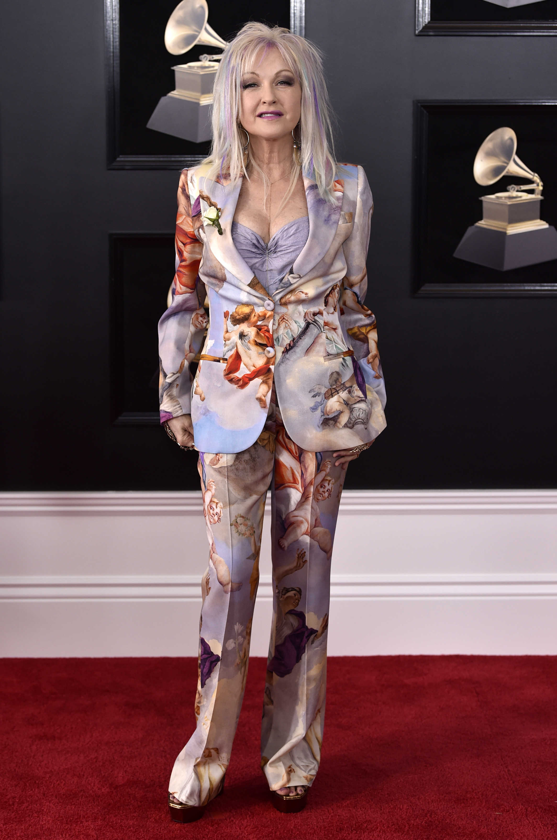 <div class='meta'><div class='origin-logo' data-origin='AP'></div><span class='caption-text' data-credit='Evan Agostini/Invision/AP'>Cyndi Lauper arrives at the 60th annual Grammy Awards at Madison Square Garden on Sunday, Jan. 28, 2018, in New York.</span></div>